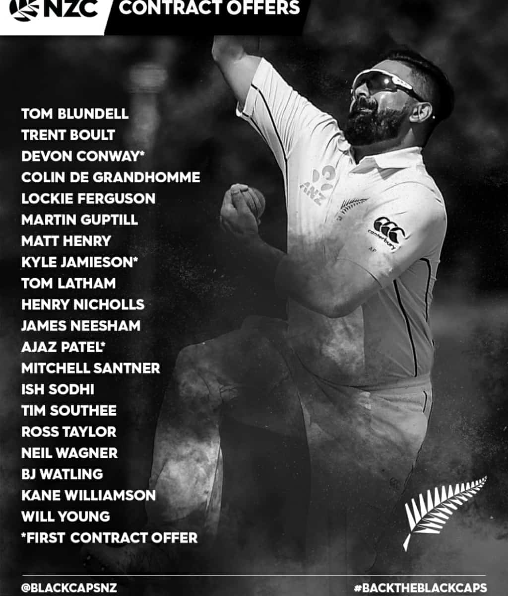 Conway, Jamieson and Ajaz included in New Zealand Cricket's contract list, Munro-Rawal exited