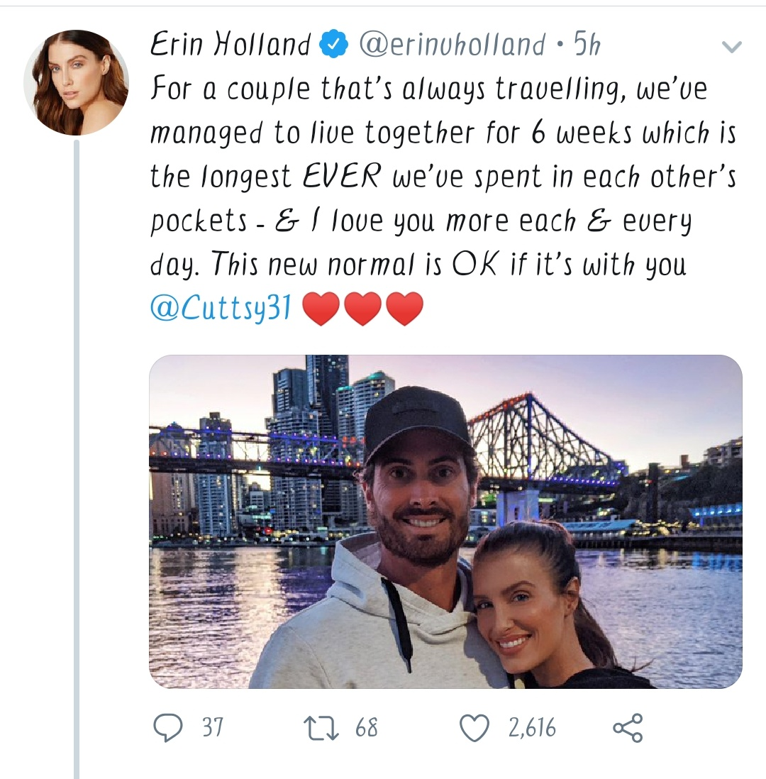 Erin Holland shared a picture on Twitter with her husband Ben Cutting and said I love you very much