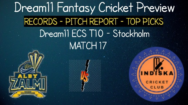 ALZ vs IND   Match 17, Dream11 ECS T10 Stockholm   Today Match Prediction and Players Records