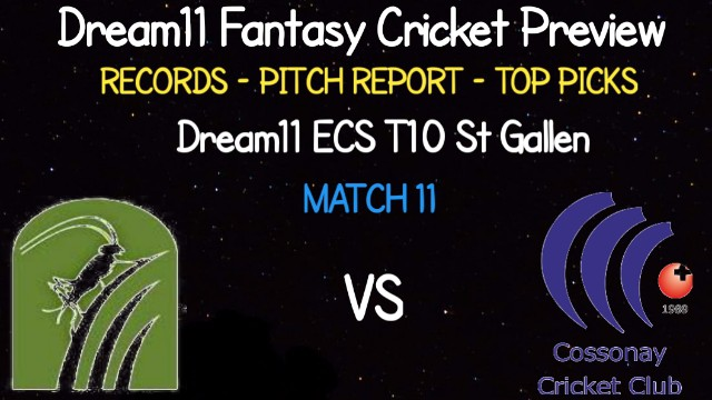 ZUCC vs COCC | Match 11, ECS T10 St Gallen | Dream11 Today Match Prediction and Players Records