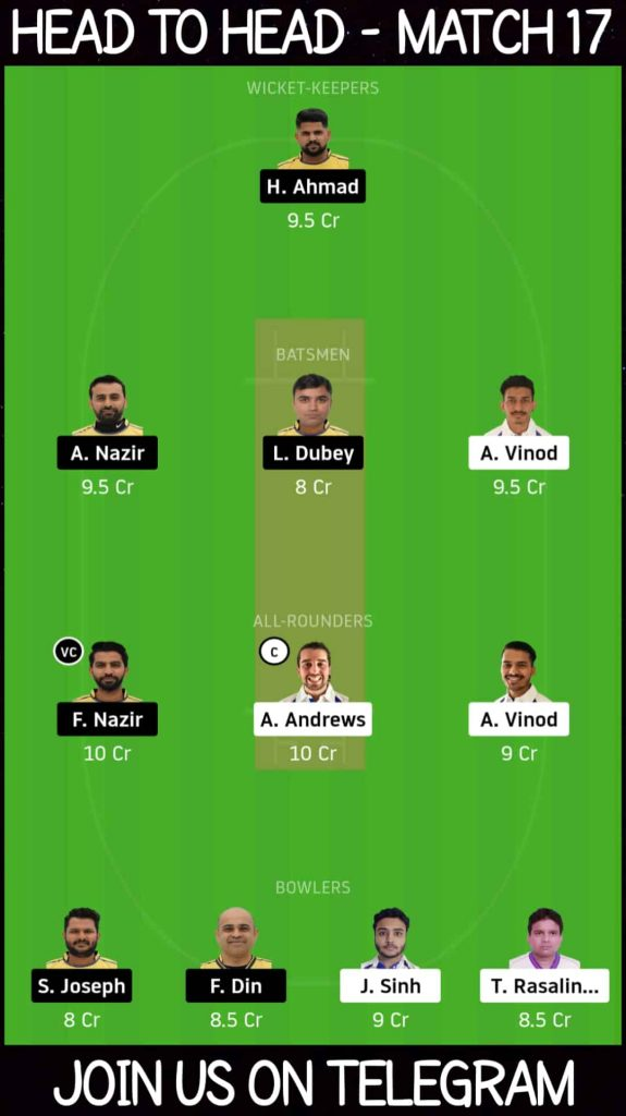 COCC vs ZNCC   Match 17, ECS T10 St Gallen   Dream11 Today Match Prediction and Players Records