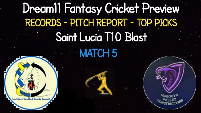 SSCS vs MAC | Match 5, Saint Lucia T10 Blast | Dream11 Today Match Prediction and Players Records