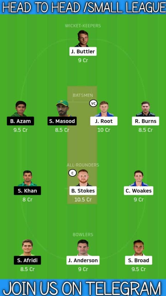ENG vs PAK   1st Test 2020   Dream11 Today Match Prediction and Players Records