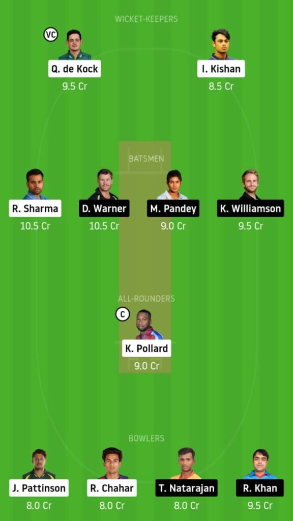 MI vs SRH Dream11 Match Prediction & Fantasy Tips   Playing XI, Pitch Report and Head To Head - Match 17,IPL 2020
