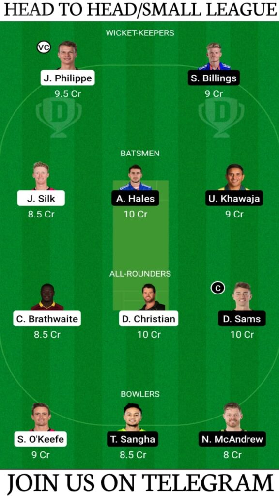 SIX vs THU Dream11 Prediction, Fantasy Cricket Tips, Playing XI, Pitch Report and Players Record —Match 48, KFC Big Bash League T20 2020-21