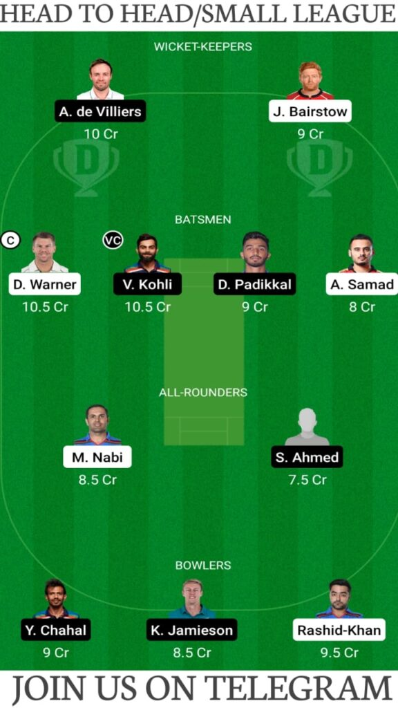 SRH vs RCB Dream11 Prediction, Fantasy Cricket Tips, Playing XI, Pitch Report and Players Record — Match 6, Vivo IPL 2021