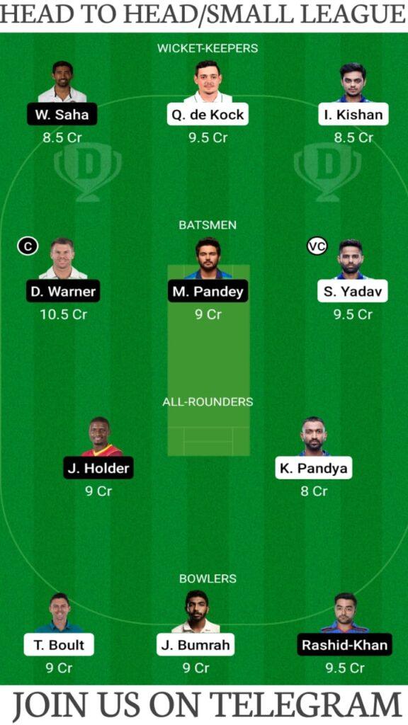 MI vs SRH Dream11 Prediction, Fantasy Cricket Tips, Playing XI, Pitch Report and Head To Head Record — Match 9, Vivo IPL 2021